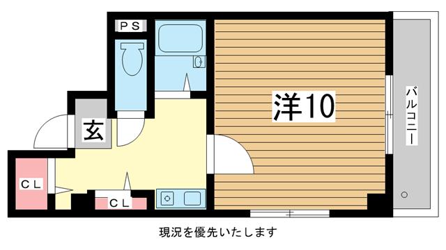 物件番号: 1025820632 ロイヤルヒル  神戸市中央区八雲通5丁目 1K マンション 間取り図