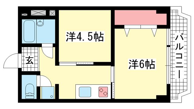 物件番号: 1025820666 シルフィードARATA(旧:吉田マンション  神戸市兵庫区荒田町3丁目 2K マンション 間取り図