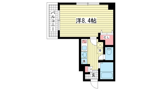 物件番号: 1025821097 サンコーガルフタワー  神戸市中央区海岸通3丁目 1K マンション 間取り図