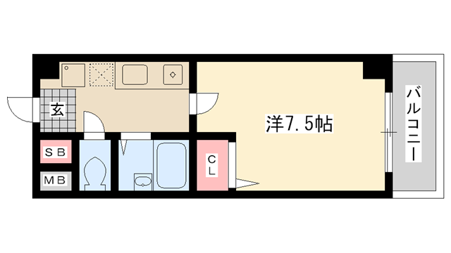物件番号: 1025821401 ブロスコート六甲Ⅱ  神戸市灘区桜口町2丁目 1K マンション 間取り図