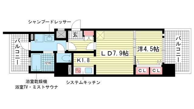 物件番号: 1025821569 アドバンス神戸湊町  神戸市兵庫区湊町3丁目 1LDK マンション 間取り図