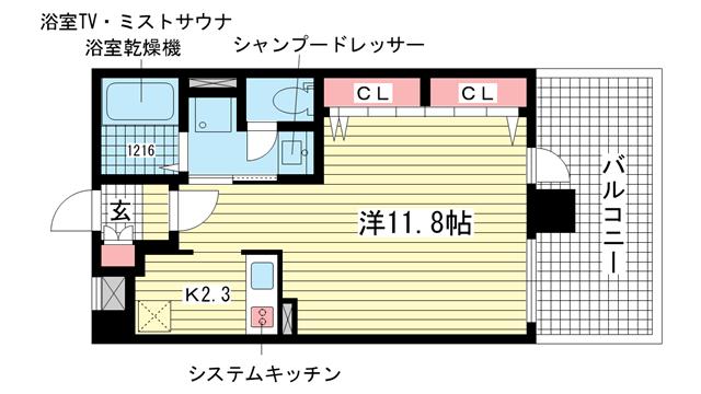 物件番号: 1025821570 アドバンス神戸湊町  神戸市兵庫区湊町3丁目 1K マンション 間取り図