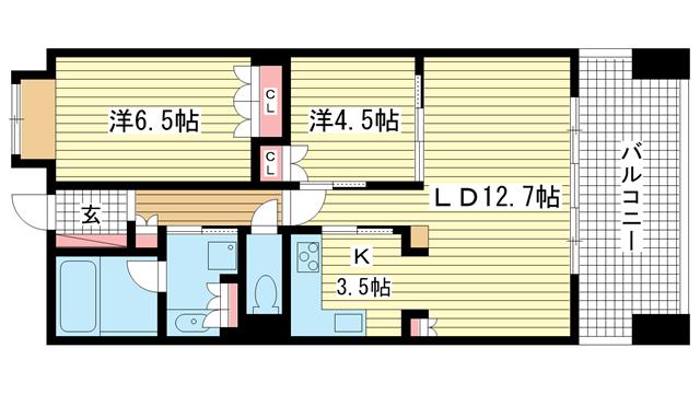 物件番号: 1025821659 アーバネックス三宮磯辺通  神戸市中央区磯辺通1丁目 2LDK マンション 間取り図