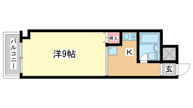 物件番号: 1025821728 ライオンズマンション新神戸  神戸市中央区熊内町4丁目 1K マンション 間取り図