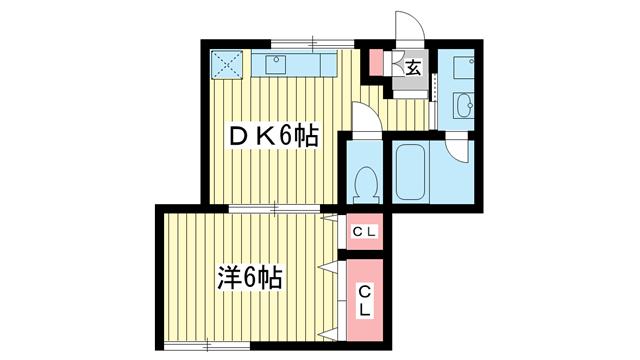 物件番号: 1025821898 岡ハウス  神戸市中央区琴ノ緒町2丁目 1DK ハイツ 間取り図