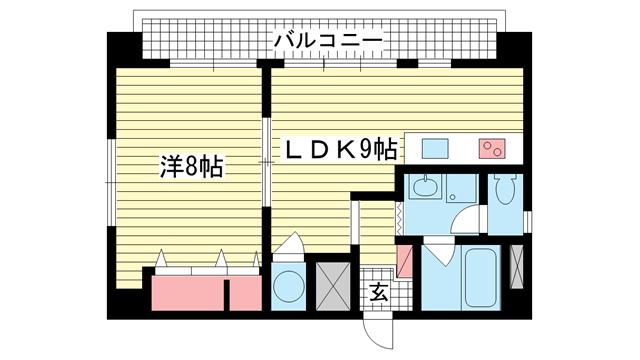物件番号: 1025821913 三宮UEハウス  神戸市中央区下山手通3丁目 1LDK マンション 間取り図