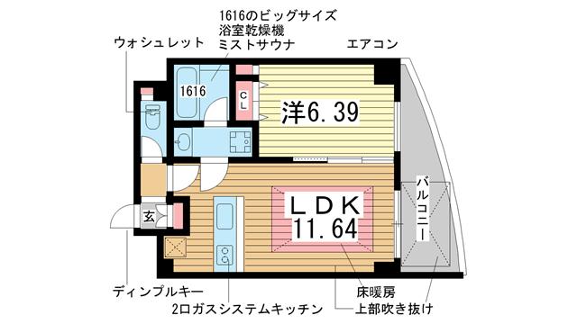 物件番号: 1025821933 ワイズコーポレーションビルディング  神戸市中央区下山手通2丁目 1LDK マンション 間取り図