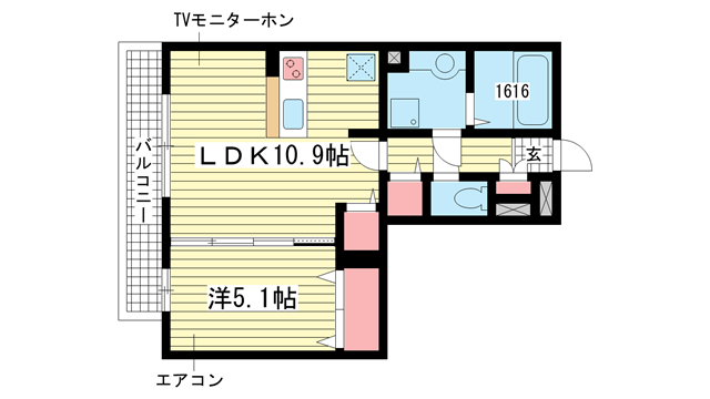 物件番号: 1025821990 リバープレイス中山手  神戸市中央区中山手通7丁目 1LDK マンション 間取り図