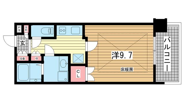 物件番号: 1025822107 トア山手フラッツ  神戸市中央区下山手通3丁目 1K マンション 間取り図