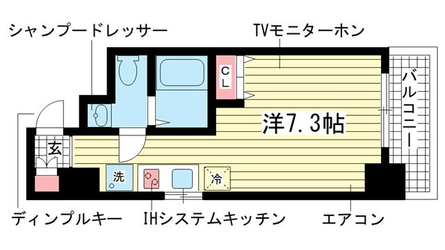 物件番号: 1025822146 ラ・ウェゾン中道  神戸市兵庫区中道通9丁目 1R マンション 間取り図
