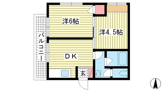 物件番号: 1025822358 グランディア北野 山本通り  神戸市中央区山本通2丁目 2DK マンション 間取り図