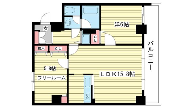 物件番号: 1025822474 プレサンス神戸三宮  神戸市中央区雲井通4丁目 1SLDK マンション 間取り図