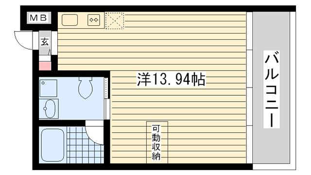 物件番号: 1025822564 ロイスグラン神戸湊川公園  神戸市兵庫区会下山町2丁目 1R マンション 間取り図