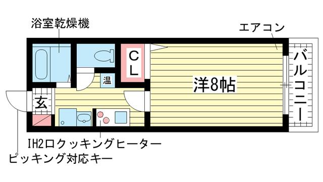 物件番号: 1025822646 サンコーガルフタワー  神戸市中央区海岸通3丁目 1K マンション 間取り図