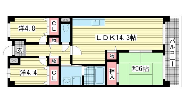 物件番号: 1025822665 サンハイツ東山  神戸市兵庫区東山町1丁目 3LDK マンション 間取り図