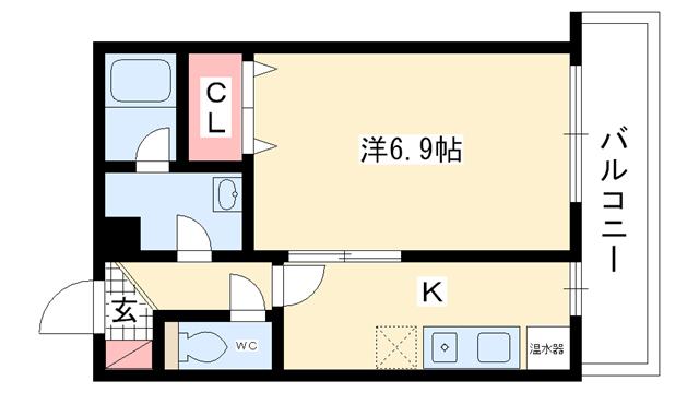 物件番号: 1025822689 ファゼンダ78  神戸市中央区熊内町2丁目 1K マンション 間取り図