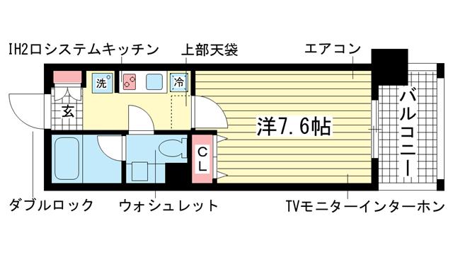 物件番号: 1025822943 インベスト神戸エアフロント  神戸市中央区北本町通4丁目 1K マンション 間取り図