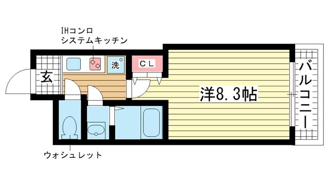 物件番号: 1025822985 神戸・山手アパートメント  神戸市中央区中山手通4丁目 1K マンション 間取り図