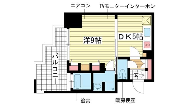 物件番号: 1025823332 プレジール三宮  神戸市中央区加納町2丁目 1DK マンション 間取り図