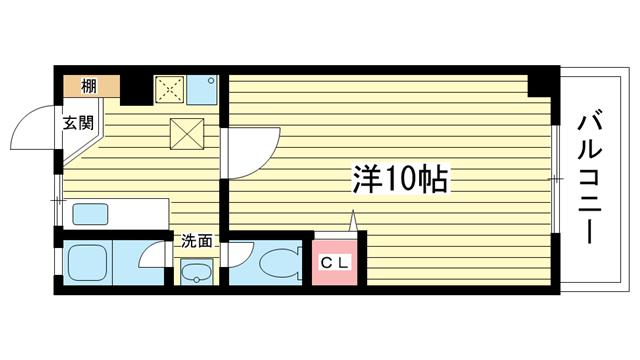 物件番号: 1025823398 マンションカザミドリ  神戸市中央区北野町3丁目 1K マンション 間取り図