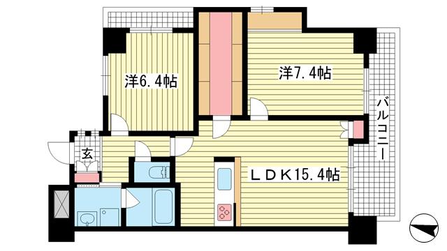 物件番号: 1025823454 ウォームスヴィル元町通  神戸市中央区元町通4丁目 2LDK マンション 間取り図