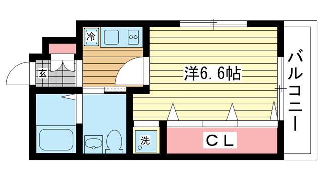 物件番号: 1025823482 M's三宮  神戸市中央区八雲通6丁目 1K マンション 間取り図