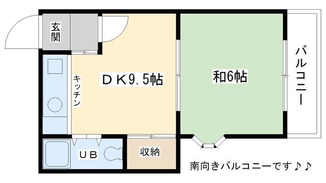 物件番号: 1025823661 レジデンス城の下  神戸市灘区城の下通2丁目 1DK ハイツ 間取り図