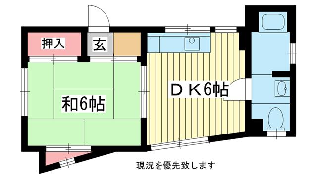 物件番号: 1025823737 岡本マンション  神戸市中央区宮本通1丁目 1DK マンション 間取り図