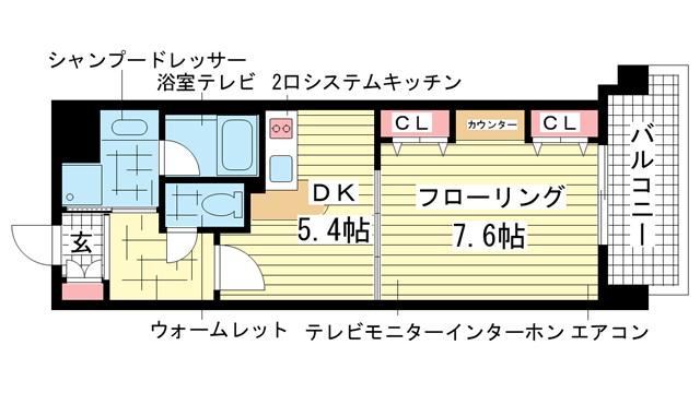 物件番号: 1025823791 インペリアル新神戸  神戸市中央区加納町2丁目 1DK マンション 間取り図