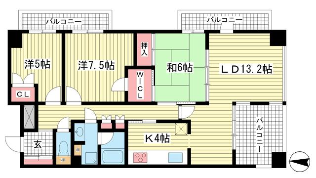 物件番号: 1025824250 ディアエスタ・ミオ中山手  神戸市中央区中山手通7丁目 3LDK マンション 間取り図