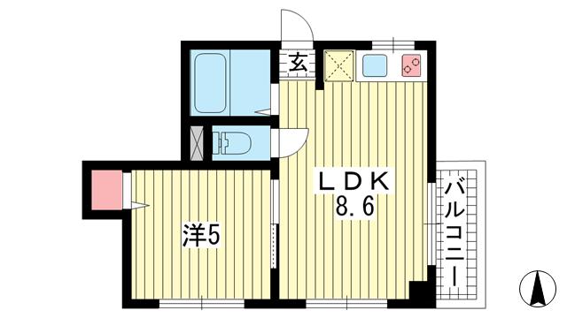物件番号: 1025824399 サンビルダー三宮東  神戸市中央区国香通6丁目 1LDK マンション 間取り図