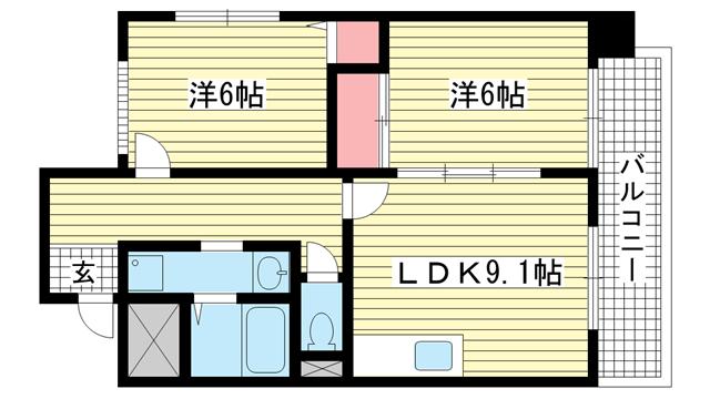 物件番号: 1025824424 アルカディア諏訪山  神戸市中央区山本通5丁目 2LDK マンション 間取り図