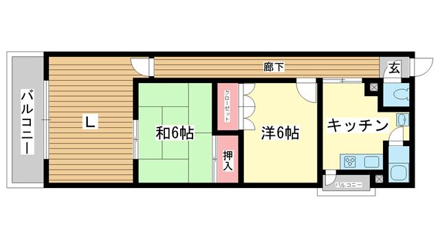 物件番号: 1025824436 第1スカイマンション  神戸市中央区北野町4丁目 2LDK マンション 間取り図