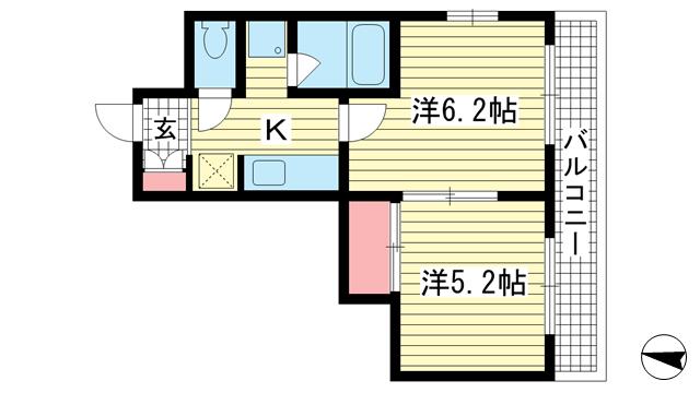 物件番号: 1025824617 ソル・デ・アブエラ  神戸市中央区山本通4丁目 2K マンション 間取り図