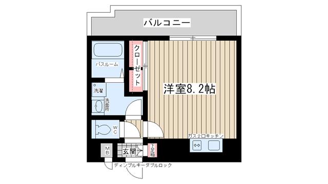 物件番号: 1025824649 ベルヴィ六甲  神戸市灘区八幡町2丁目 1R マンション 間取り図