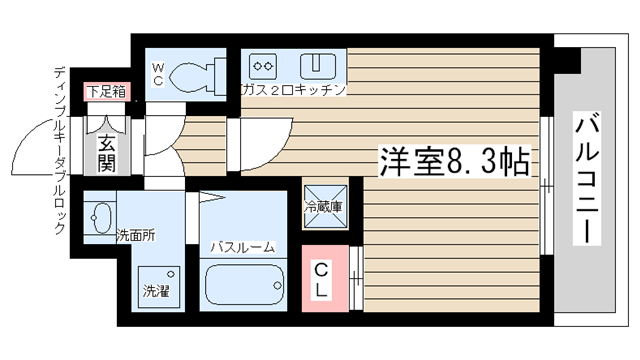 物件番号: 1025824691 ベルヴィ六甲  神戸市灘区八幡町2丁目 1R マンション 間取り図