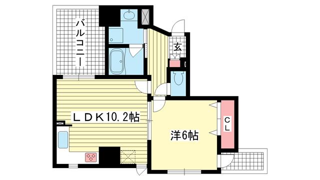 物件番号: 1025824709 デ・リード神戸元町  神戸市中央区栄町通5丁目 1LDK マンション 間取り図