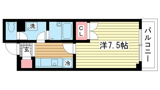 物件番号: 1025824935 昭和レジデンス  神戸市兵庫区矢部町 1K マンション 間取り図