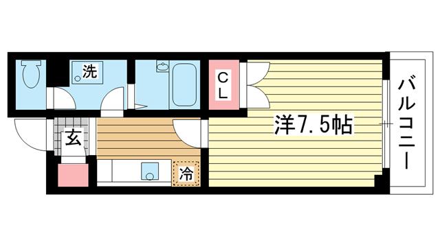 物件番号: 1025824936 昭和レジデンス  神戸市兵庫区矢部町 1K マンション 間取り図