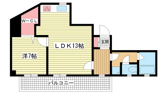 物件番号: 1025825047 ラフィーネ三宮  神戸市中央区二宮町3丁目 1LDK マンション 間取り図