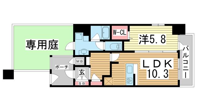 物件番号: 1025825093 エイペックス神戸みなと元町Coast Line  神戸市中央区元町通5丁目 1LDK マンション 間取り図