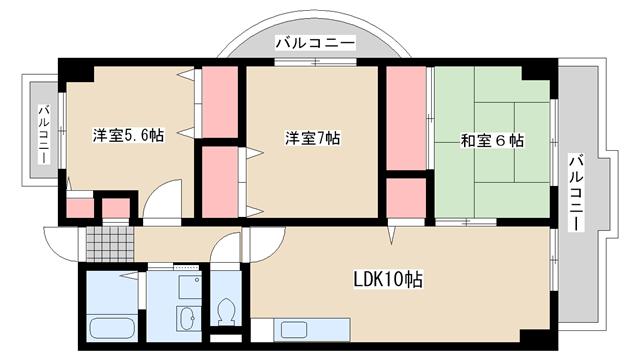 物件番号: 1025825098 ロイヤルコート本山  神戸市東灘区本山中町2丁目 3LDK マンション 間取り図