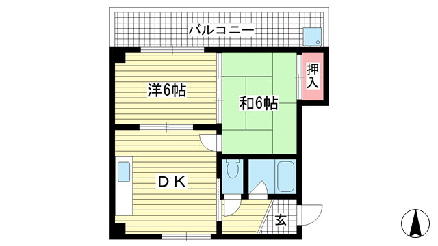 物件番号: 1025825236 ポスト花隈  神戸市中央区花隈町 2DK マンション 間取り図