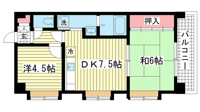 物件番号: 1025825547 ワコーレ上沢  神戸市兵庫区上沢通6丁目 2DK マンション 間取り図