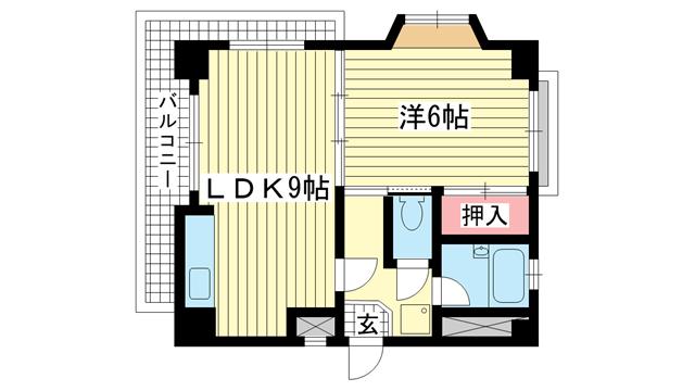 物件番号: 1025825549 ポールドエスカール  神戸市中央区花隈町 1LDK マンション 間取り図