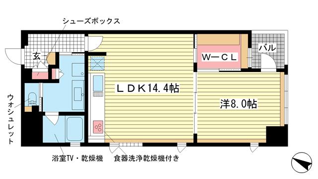 物件番号: 1025825608 ジークレフ神戸元町  神戸市中央区元町通6丁目 1LDK マンション 間取り図