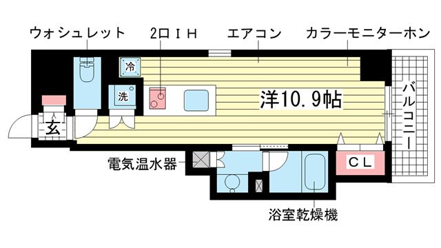 物件番号: 1025825687 レジディア神戸磯上  神戸市中央区磯上通3丁目 1K マンション 間取り図