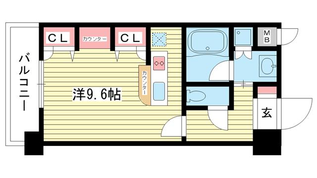 物件番号: 1025825924 KAISEI新神戸第2WEST  神戸市中央区布引町2丁目 1K マンション 間取り図