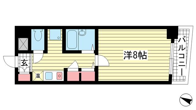 物件番号: 1025825955 JUN中山手  神戸市中央区中山手通2丁目 1K マンション 間取り図