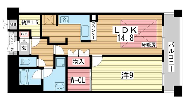 物件番号: 1025826000 ワコーレ ザ・トアロードレジデンス  神戸市中央区中山手通2丁目 1LDK マンション 間取り図